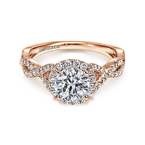 Gabriel - Marissa 14k Rose Gold Round Halo Engagement Ring