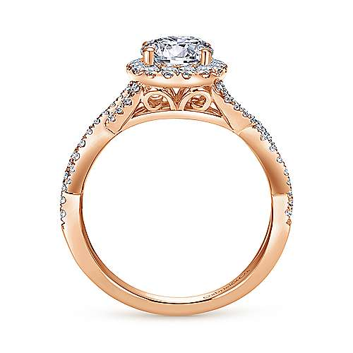 Marissa 14k Rose Gold Round Halo Engagement Ring angle 2