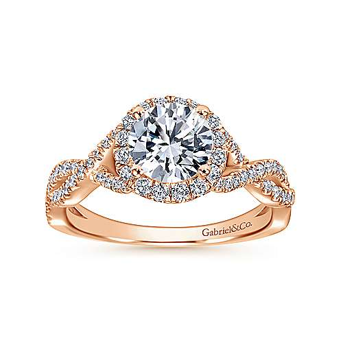 Marissa 14k Rose Gold Round Halo Engagement Ring angle 5