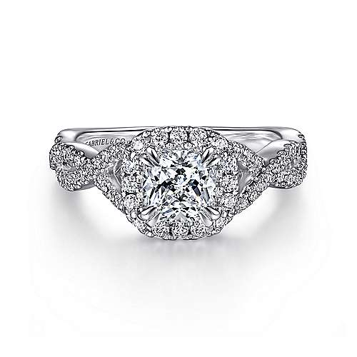 Gabriel - Marissa 14k White Gold Cushion Cut Halo Engagement Ring