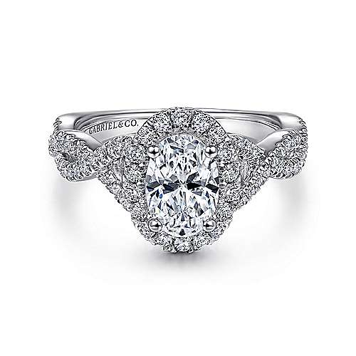 Gabriel - Marissa 14k White Gold Oval Halo Engagement Ring