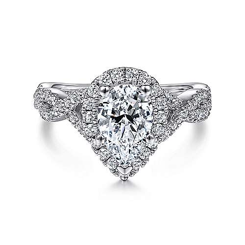 Gabriel - Marissa 14k White Gold Pear Shape Halo Engagement Ring
