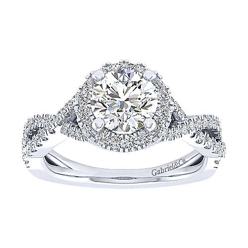 Marissa 14k White Gold Round Halo Engagement Ring angle 5