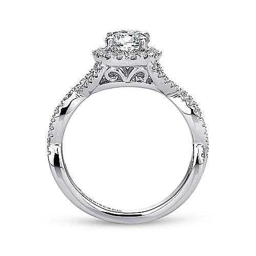 Marissa 14k White Gold Round Halo Engagement Ring angle 2