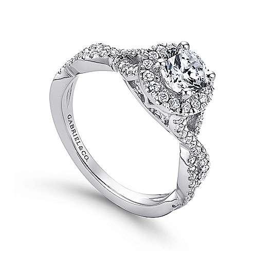 Marissa 14k White Gold Round Halo Engagement Ring angle 3