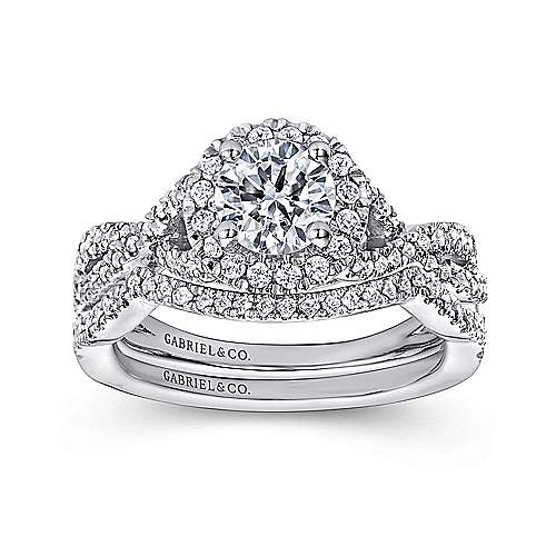 Marissa 14k White Gold Round Halo Engagement Ring angle 4
