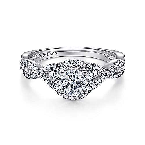 Marissa 14k White Gold Round Halo Engagement Ring angle 1