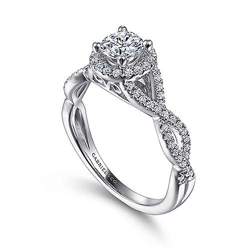 Marissa 14k White Gold Round Halo Engagement Ring angle 3