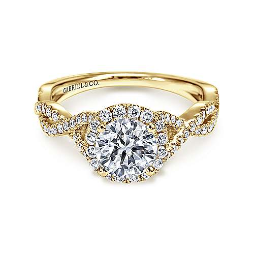 Marissa 14k Yellow Gold Round Halo Engagement Ring angle 1