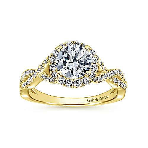 Marissa 14k Yellow Gold Round Halo Engagement Ring angle 5
