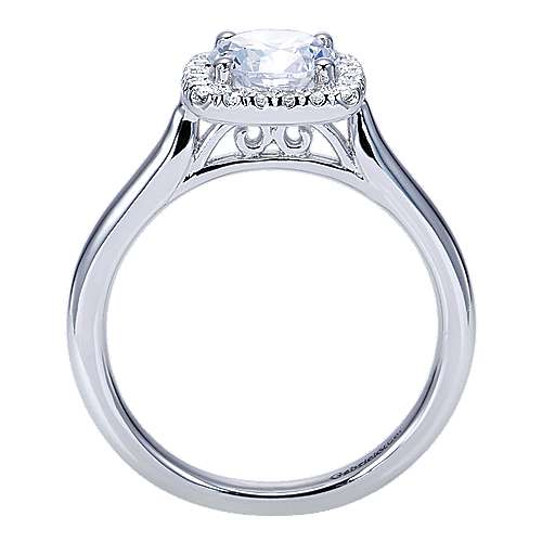 Marjorie 14k White Gold Round Halo Engagement Ring angle 2