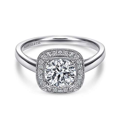 Gabriel - Marla 14k White Gold Round Halo Engagement Ring