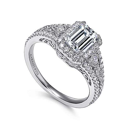 Marlena 14k White Gold Emerald Cut Halo Engagement Ring angle 3