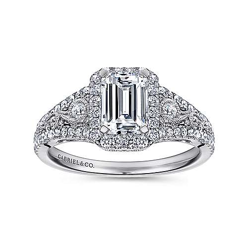 Marlena 14k White Gold Emerald Cut Halo Engagement Ring angle 5