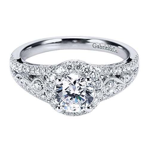 Gabriel - Marlena 14k White Gold Round Halo Engagement Ring