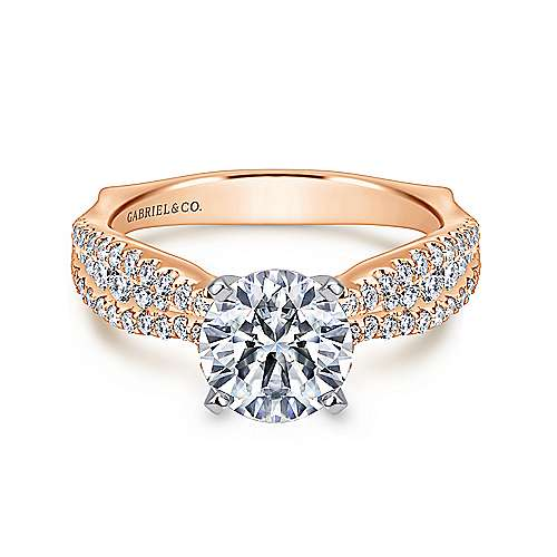 Marley 14k White And Rose Gold Round Straight Engagement Ring angle 1