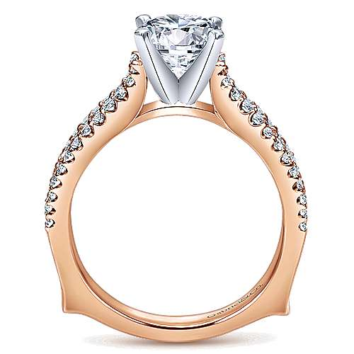 Marley 14k White And Rose Gold Round Straight Engagement Ring angle 2