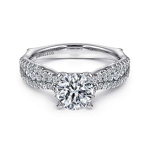 Gabriel - Marley 14k White Gold Round Straight Engagement Ring