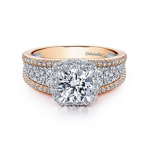 Gabriel - Marlow 18k White And Rose Gold Round Halo Engagement Ring