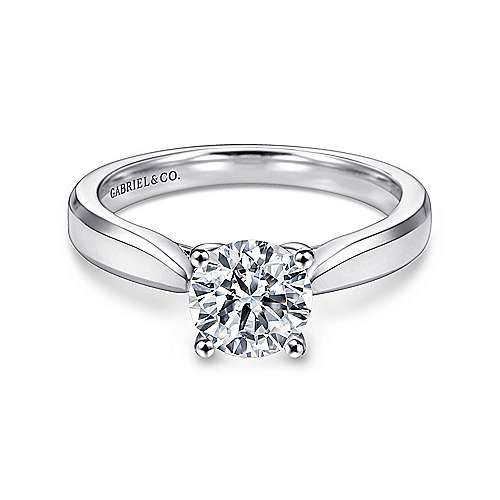 Marnie 14k White Gold Round Solitaire Engagement Ring angle 1