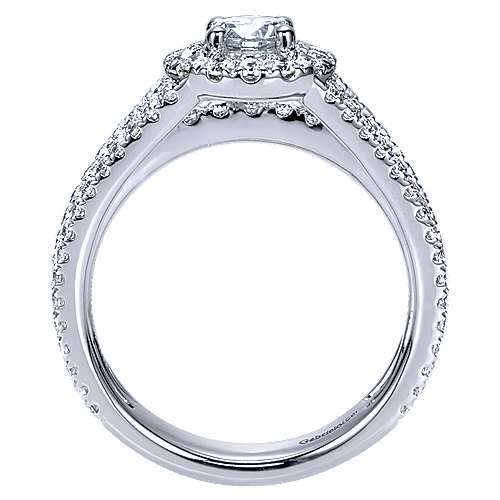 Mars 14k White Gold Round Halo Engagement Ring angle 2