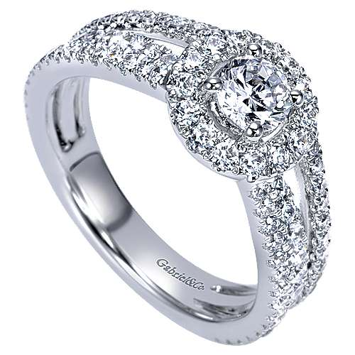 Mars 14k White Gold Round Halo Engagement Ring angle 3