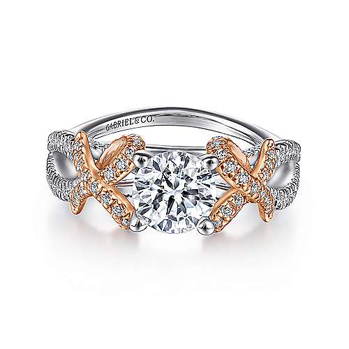 Gabriel - Marta 14k White And Rose Gold Round Twisted Engagement Ring