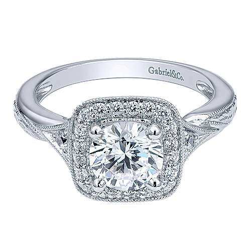 Gabriel - Martha 14k White Gold Round Halo Engagement Ring
