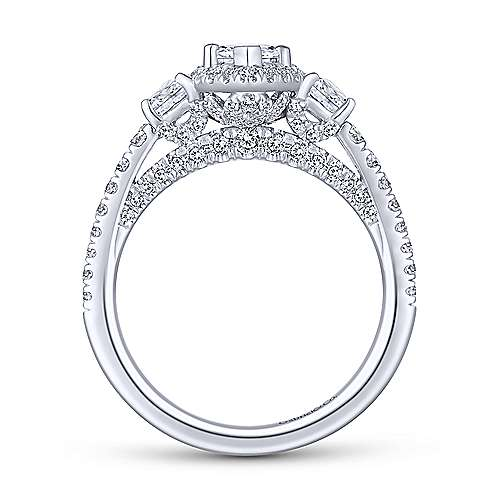Martina 14k White Gold Marquise  3 Stones Engagement Ring angle 2