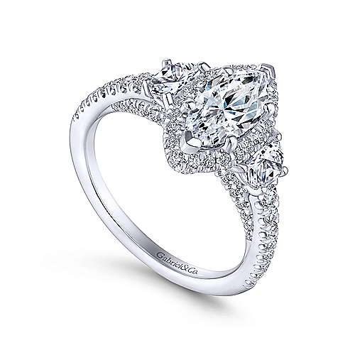 Martina 14k White Gold Marquise  3 Stones Engagement Ring angle 3