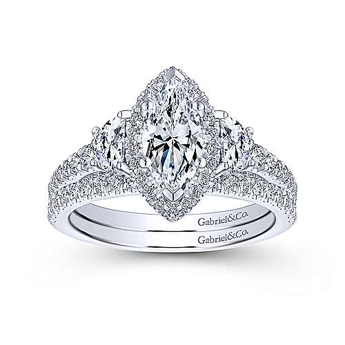 Martina 14k White Gold Marquise  3 Stones Engagement Ring angle 4
