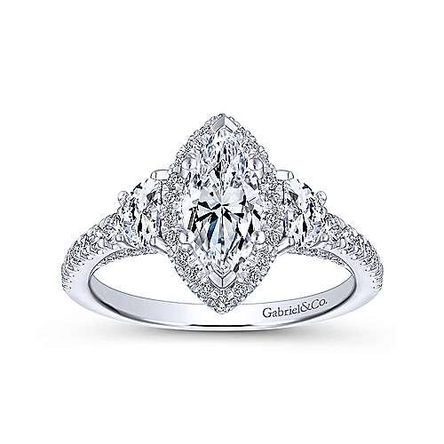 Martina 14k White Gold Marquise  3 Stones Engagement Ring angle 5