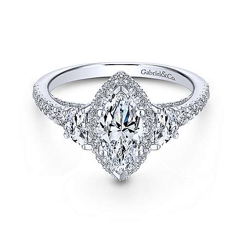 martina 18k white gold marquise 3 stones engagement ring angle 1 - Marquise Wedding Ring