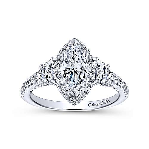 Martina 18k White Gold Marquise  3 Stones Engagement Ring angle 5