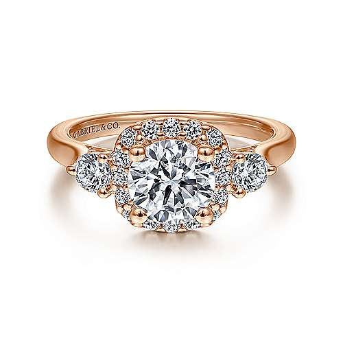 Martine 14k Pink Gold Round Halo Engagement Ring angle 1