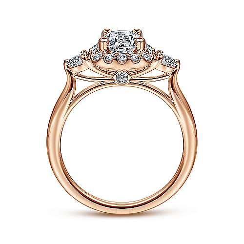 Martine 14k Pink Gold Round Halo Engagement Ring angle 2