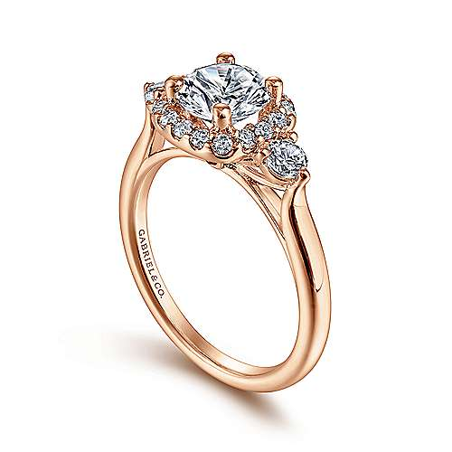 Martine 14k Pink Gold Round Halo Engagement Ring angle 3