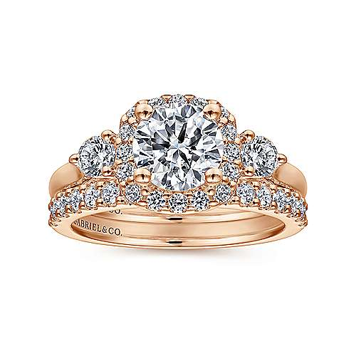 Martine 14k Pink Gold Round Halo Engagement Ring angle 4