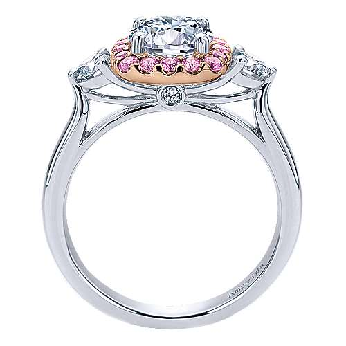 Martine 14k White And Rose Gold Round Halo Engagement Ring angle 2
