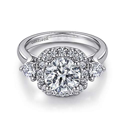 Gabriel - Martine 14k White Gold Round 3 Stones Engagement Ring
