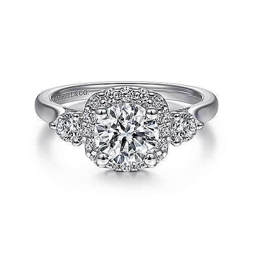 Gabriel - Martine 14k White Gold Round 3 Stones Halo Engagement Ring