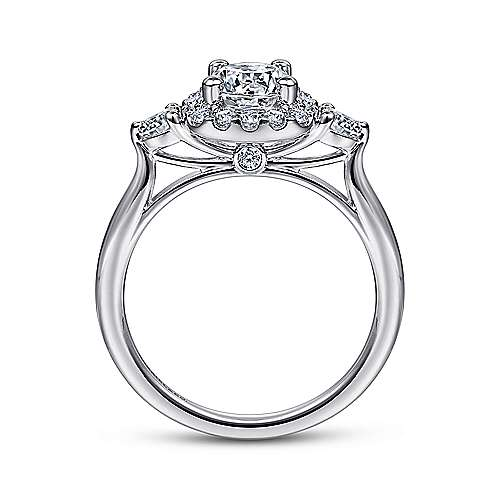 Martine 14k White Gold Round 3 Stones Halo Engagement Ring angle 2