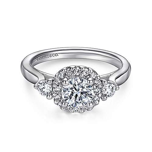 Martine 14k White Gold Round Halo Engagement Ring angle 1