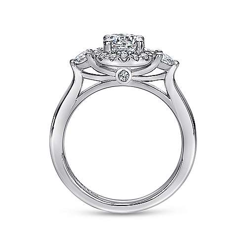 Martine 14k White Gold Round Halo Engagement Ring angle 2