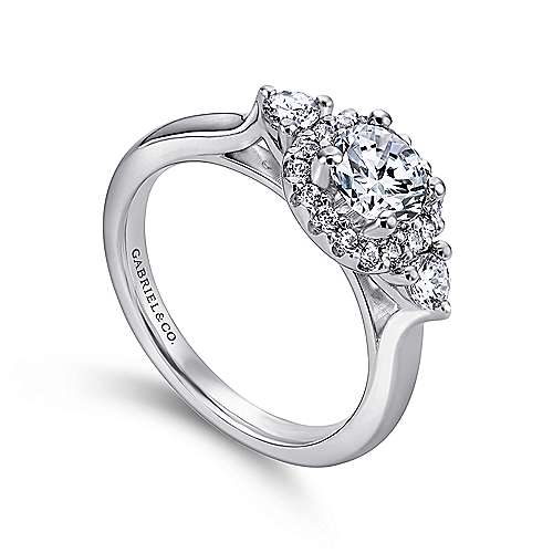 Martine 14k White Gold Round Halo Engagement Ring angle 3