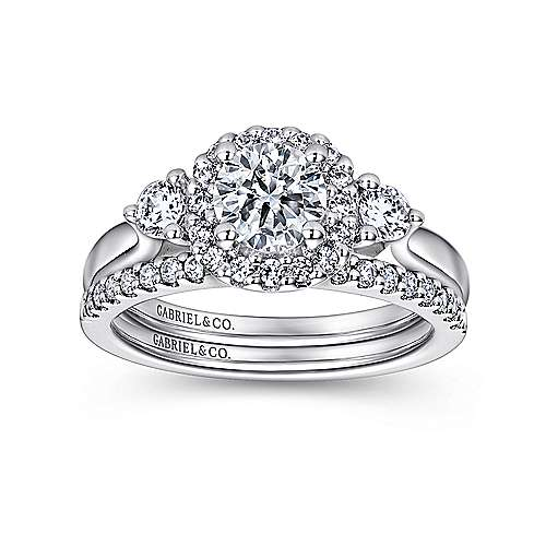 Martine 14k White Gold Round Halo Engagement Ring angle 4