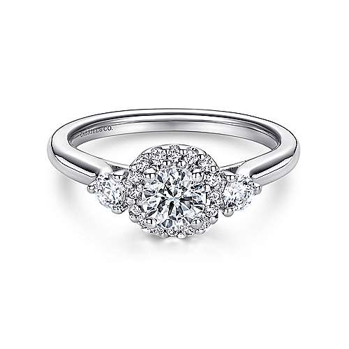 Gabriel - Martine 14k White Gold Round Halo Engagement Ring