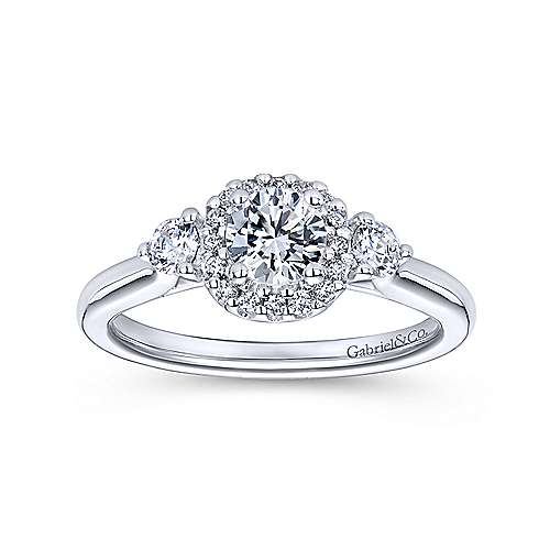 Martine 14k White Gold Round Halo Engagement Ring angle 5