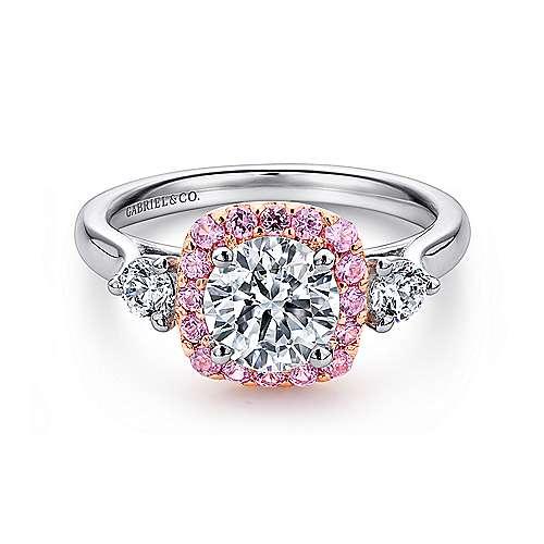 Gabriel - Martine 14k White/rose Gold Round Halo Engagement Ring