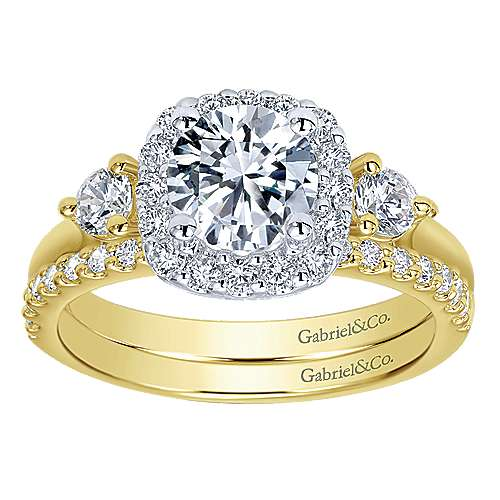 Martine 14k Yellow And White Gold Round Halo Engagement Ring